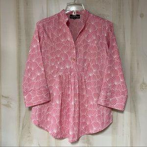 Liza Byrd Pink White Shell Print Tunic XS Elliott